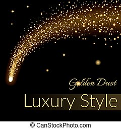 stocks tamplate - Golden sparkling falling star. Gold dust...