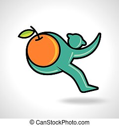 Fitness man running hold a orange
