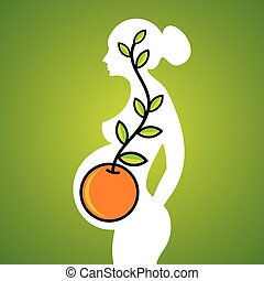 silhouette of pregnant woman with creative idea
