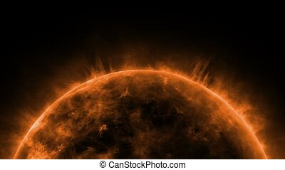 Sun animation close up with bright hot corona fire flames Orange