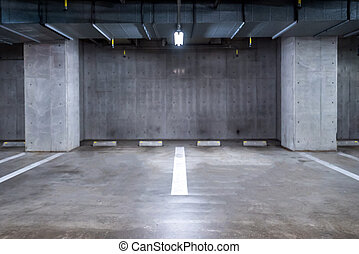 Parking garage underground - empty Parking garage...