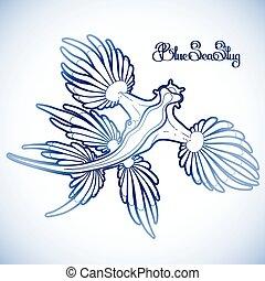 Graphic blue sea slug - Glaucus atlanticus. Blue sea slug...