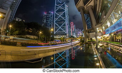 The Hong Kong Corporate Buildings night timelapse with...