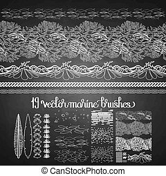 Collection of ocean brushes drawn in line art style on...