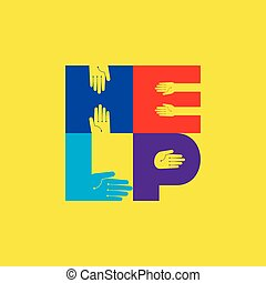 helping hands, vector illustration