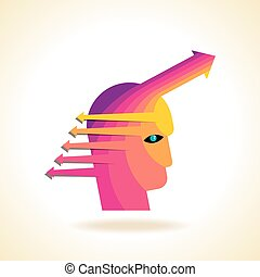head with arrows - Thoughts and options vector illustration...