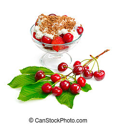 fruit dessert isolated on white background