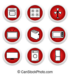 Red buttons with icon 9 Vector