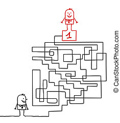 man going to the leadership in a maze - hand drawn cartoon...