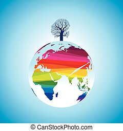 colorful globe with one tree,