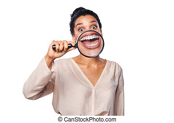 Woman showing teeth - Funny image of happy excited female...