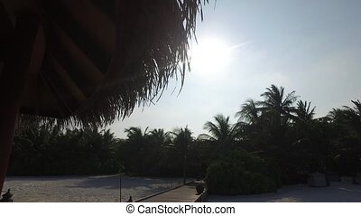 wooden bridge to palapa shed on beach - travel, tourism,...