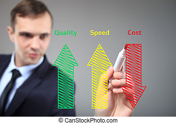 business man writing industrial product concept of increased...