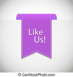 purple Like us label vector. Vector illustration, EPS 10