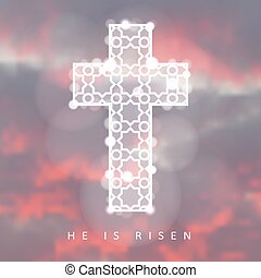 Easter background with illuminated ornamental cross and sunrise, christian concept, vector