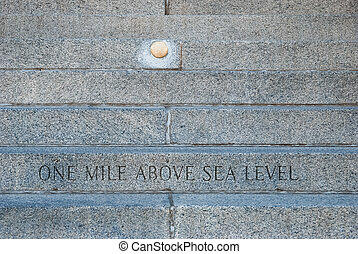 One mile above sea level mark of Colorado State Capitol Building
