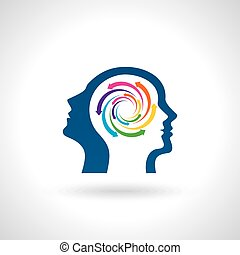 think Thoughts and options vector illustration of head