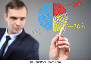 businessman drawing a colorful pie chart graph. Business, technology, internet and networking concept