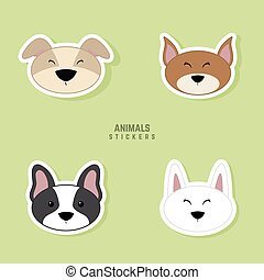 Cute dogs Face - abstract cute dogs face on a green...