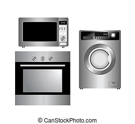Set of household appliances. Isolated. - Set of household...