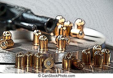 pistolet ręczny, wkłady, Ilustracja