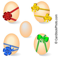 Realistic illustration of set by Easter eggs with bows -...