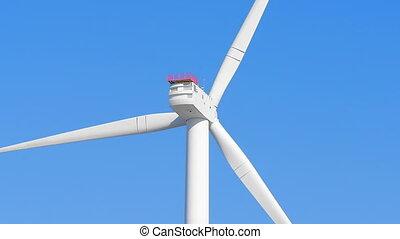Wind turbine spinning close up loop - Close up of wind...