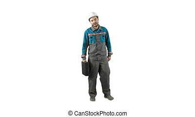 Construction engineer with tablet and drawing in hands, man walks at camera on white background.