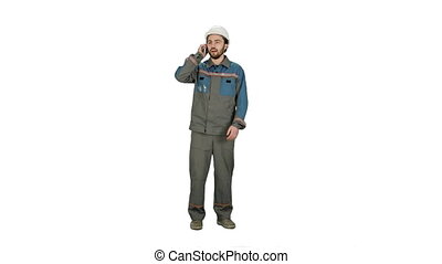 Construction Worker talk with Cell Telephone on white background.