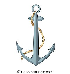 Anchor and rope with outline - Anchor and rope with dark...