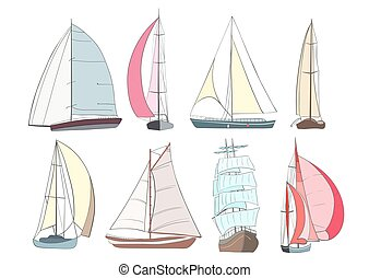 Set of boats with sails made in the vector