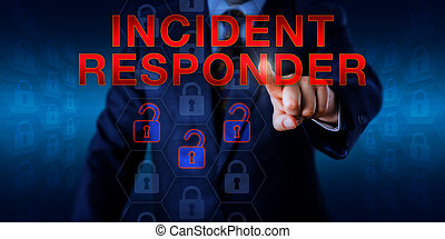 Manager Pressing INCIDENT RESPONDER - Male manager is...
