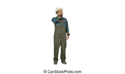 Oil Worker calling by phone during business break on white background.