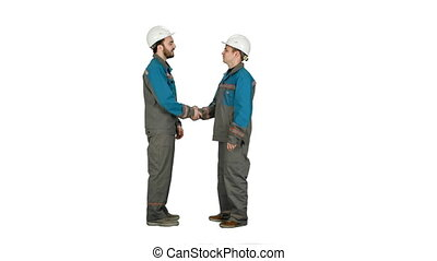 Two builder, architects handshaking on white background.