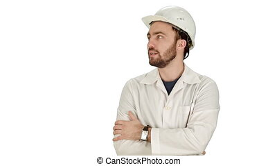 Construction worker looking at his watch. Builder waiting for a meeting on white background.
