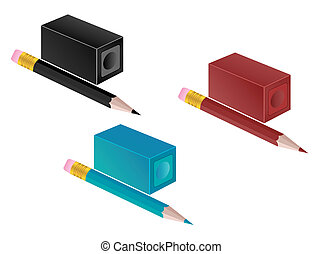 High detail illustration of pencil and pencil sharpener