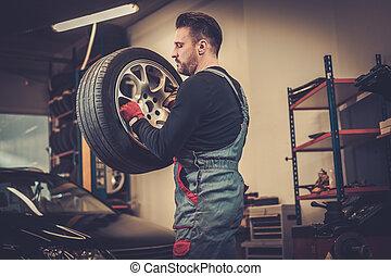 Professional car  mechanic balancing car wheel on balancer in auto repair service.