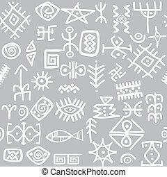 Ancient symbols set seamless pattern