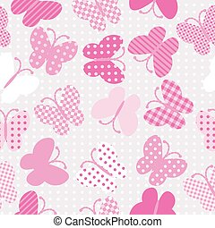 Pink patterned butterflies seamless