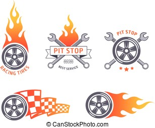Colored racing tires and service vector emblems flat design
