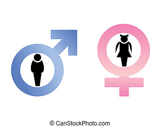 Male and female signs are isolated on white background