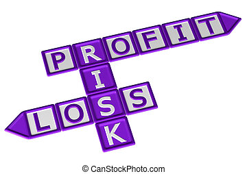 Blocks with word Profit, Risk, Loss