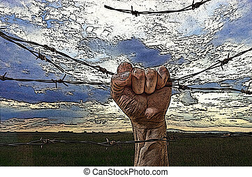 hand behind barbed wire with sunset in the background