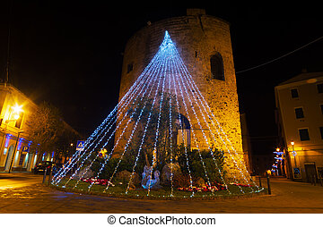 Christmas decoration in Porta Terra tower, Alghero