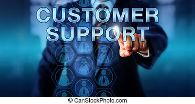 Businessman Touching CUSTOMER SUPPORT - Businessman touching...