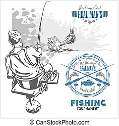 Marline fish in waves on retro grunge background - creation...
