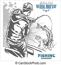 Fisherman and fish - vintage illustration plus retro emblem...