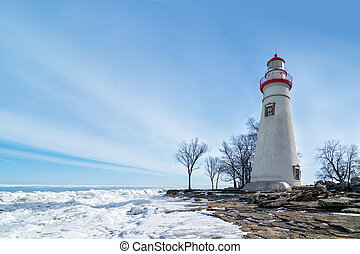Marblehead Lighthouse Winter Scene - The historic Marblehead...