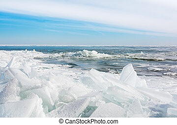 Lake Erie Ice - Huge chunks of fresh water ice on Lake Eire...