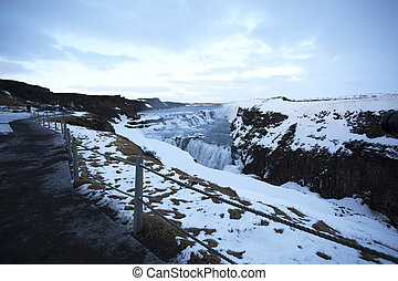 Waterfall Gullfoss in Iceland - Famous waterfall Gullfoss in...